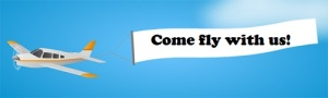 Come fly with us banner with airplane